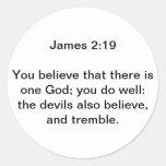 James 2:19 round sticker