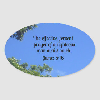 James 5:16 The effective, fervent prayer... Oval Sticker