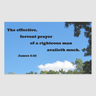 James 5:16 The effective, fervent prayer... Rectangular Sticker
