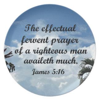 James 5:16 The effectual fervent prayer of Melamine Plate