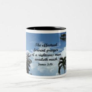 James 5:16 The effectual fervent prayer of Two-Tone Coffee Mug