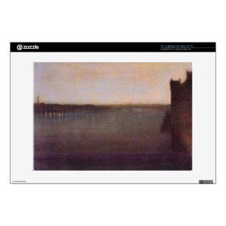 """James Abbot McNeill Whistler - Nocturne in gray an 13"""" Laptop Decal"""