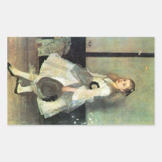 James Abbot McNeill Whistler - Portrait of Miss Al Rectangular Sticker