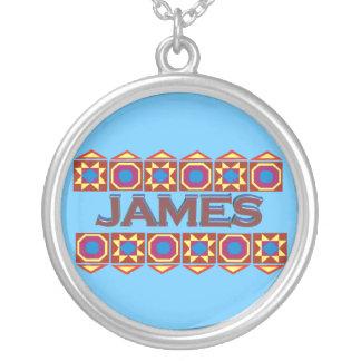 James Abstract art southwestern over lightblue Round Pendant Necklace