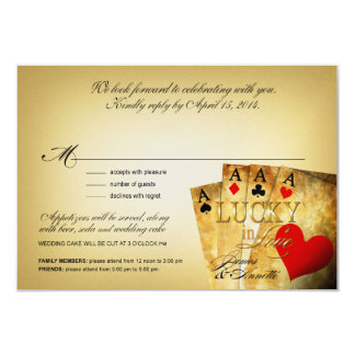 James & Annette Vegas METALLIC CHAMPAGNE RSVP Card
