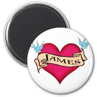 James - camisetas y regalos de encargo del tatuaje imán redondo 5 cm