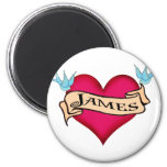 James - Custom Heart Tattoo T-shirts & Gifts 2 Inch Round Magnet