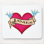 James - Custom Heart Tattoo T-shirts & Gifts Mouse Mats