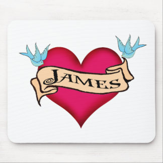James - Custom Heart Tattoo T-shirts & Gifts Mouse Pad