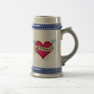 James - Custom Heart Tattoo T-shirts & Gifts 18 Oz Beer Stein