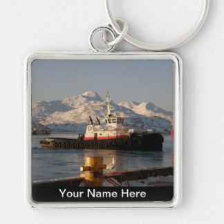 James Dunlap Tugboat in Dutch Harbor, AK Silver-Colored Square Keychain