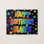 "[ Thumbnail: ""James"" First Name, Fun ""Happy Birthday"" Jigsaw Puzzle ]"