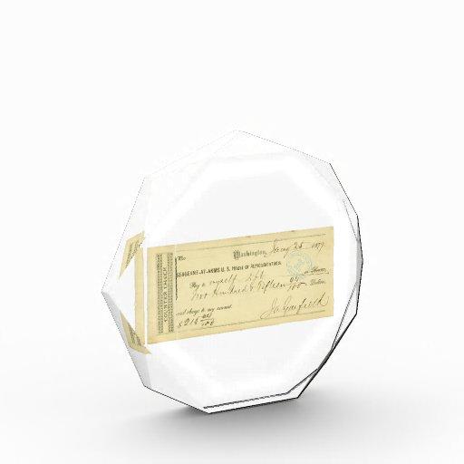 James Garfield Signed Check from January 25th 1877 Acrylic Award