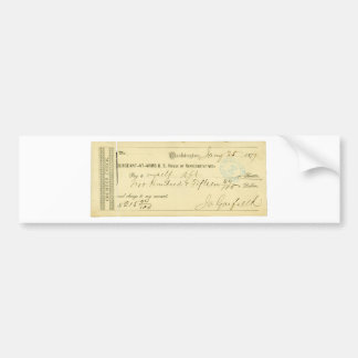 James Garfield Signed Check from January 25th 1877 Bumper Sticker