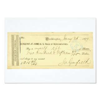 James Garfield Signed Check from January 25th 1877 Card