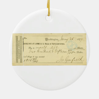 James Garfield Signed Check from January 25th 1877 Ceramic Ornament