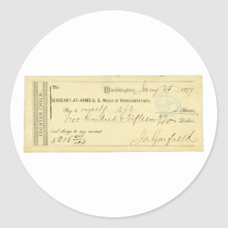 James Garfield Signed Check from January 25th 1877 Classic Round Sticker