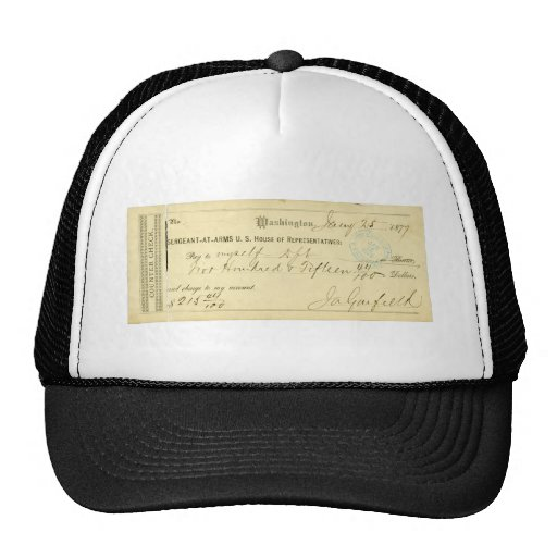 James Garfield Signed Check from January 25th 1877 Hat