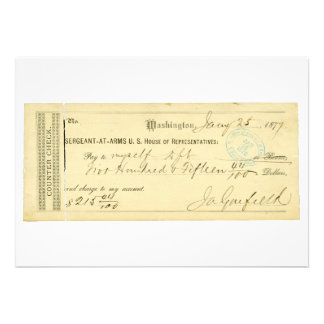 James Garfield Signed Check from January 25th 1877 Custom Invite