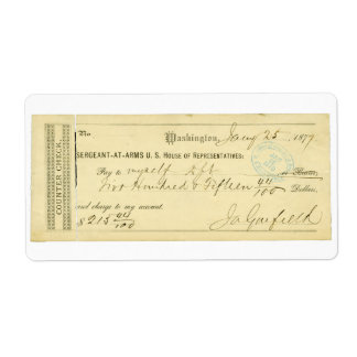 James Garfield Signed Check from January 25th 1877 Label