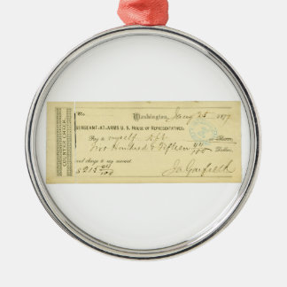 James Garfield Signed Check from January 25th 1877 Metal Ornament