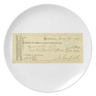 James Garfield Signed Check from January 25th 1877 Dinner Plates