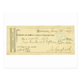 James Garfield Signed Check from January 25th 1877 Postcard
