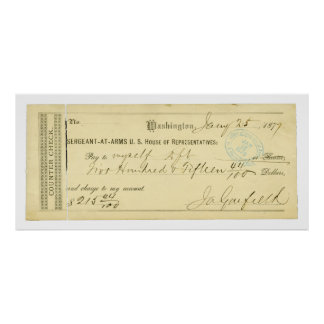 James Garfield Signed Check from January 25th 1877 Poster