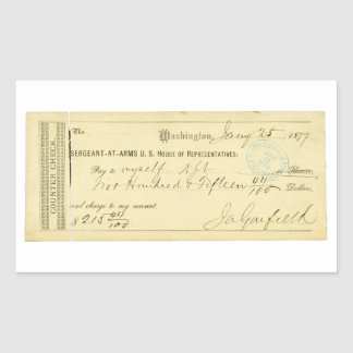 James Garfield Signed Check from January 25th 1877 Rectangular Sticker