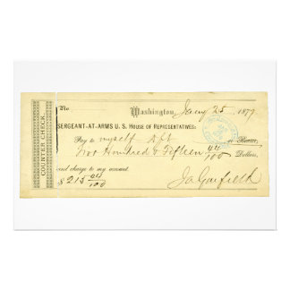 James Garfield Signed Check from January 25th 1877 Stationery