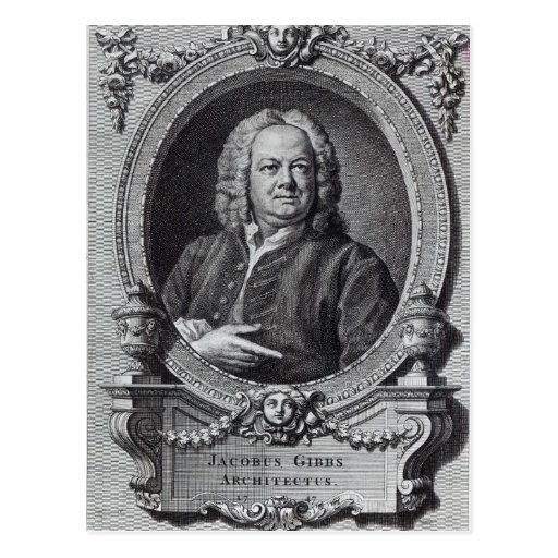 James Gibbs, engraved by Bernard Baron, 1747 Postcard