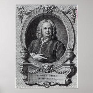 James Gibbs, grabado por el barón de Bernard, 1747 Póster