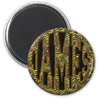 JAMES - GOLD TEXT 2 INCH ROUND MAGNET