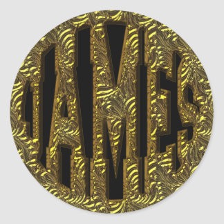 JAMES - GOLD TEXT CLASSIC ROUND STICKER