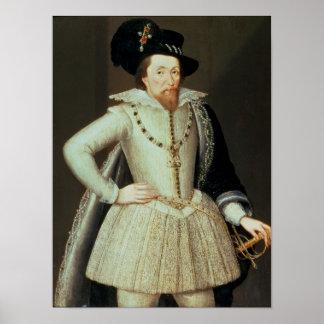 James I, half-length portrait Poster