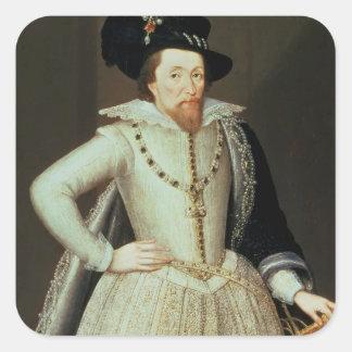James I, half-length portrait Square Sticker