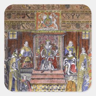 James I of England  at Court, Square Sticker