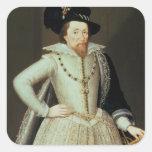 James I, retrato de la mitad-longitud Pegatinas Cuadradases