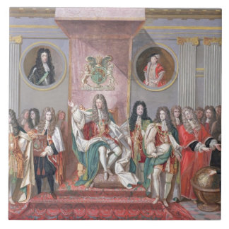 James II 1633-1701 Receiving the Mathematical Sc Ceramic Tile