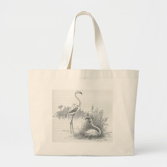 James Johonnot - Flamingo and Nest Large Tote Bag