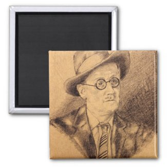 James Joyce 2 Inch Square Magnet