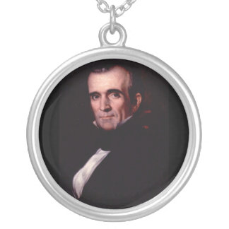 James K. Polk 11th US President Silver Plated Necklace