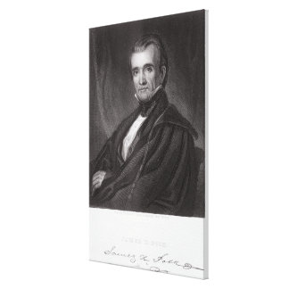 James Knox Polk, engraved by Henry Bryan Hall (180 Canvas Print