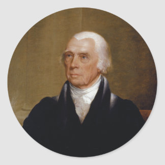 James Madison by Chester Harding (1830) Classic Round Sticker
