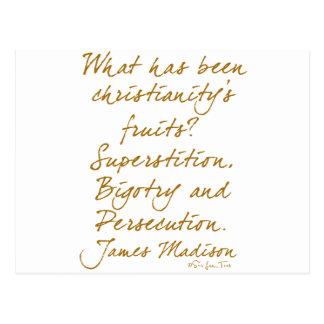James Madison en cristianismo Tarjeta Postal