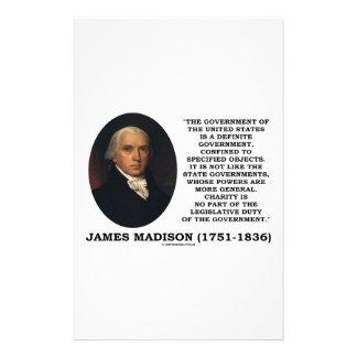 James Madison Govt de Estados Unidos especificó Papelería