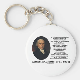 James Madison Knowledge Forever Govern Ignorance Basic Round Button Keychain