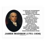 James Madison Knowledge Forever Govern Ignorance Postcards
