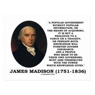 James Madison Knowledge Forever Govern Ignorance Postcard