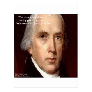 "James Madison ""Mistrust Power"" Wisdom Quote Postcard"